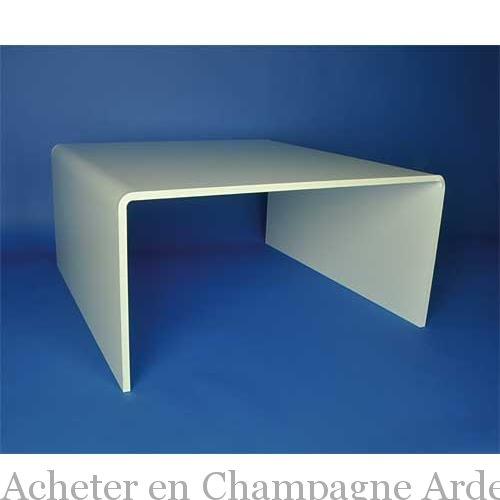 Table de salon blanc brillant plexi - Table salon blanc ...