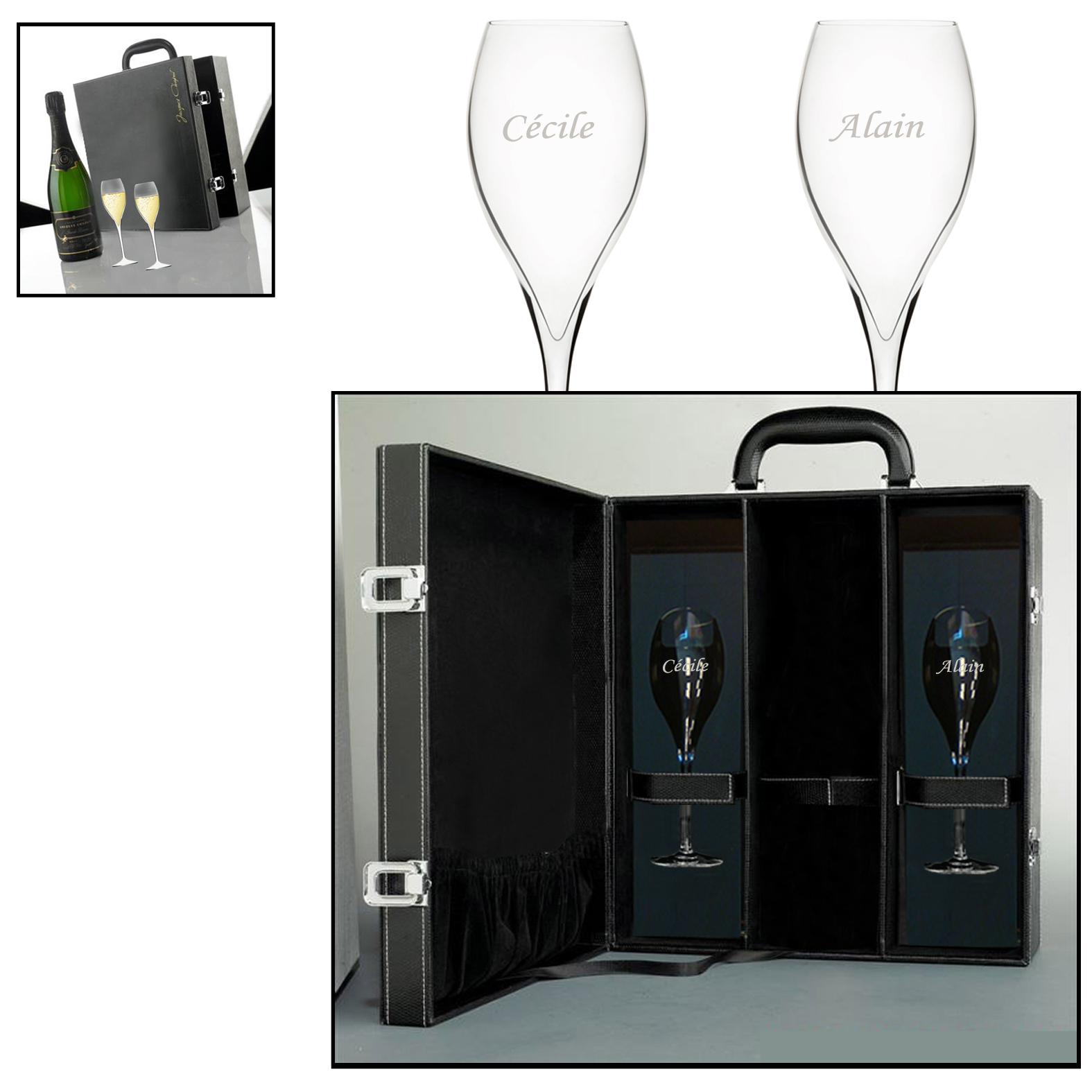 Coffret fl te champagne grav for Acheter plaque de verre